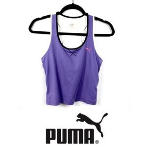 Puma EUC M Purple & White Racerback Athletic Top